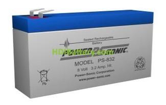 Bateria de plomo AGM 8 Voltios 3.2 AH 134X36X63 POWER SONIC 832